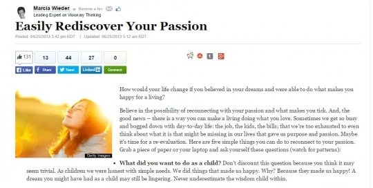 Easily Rediscover Your Passion - Huffington Post Healthy Living