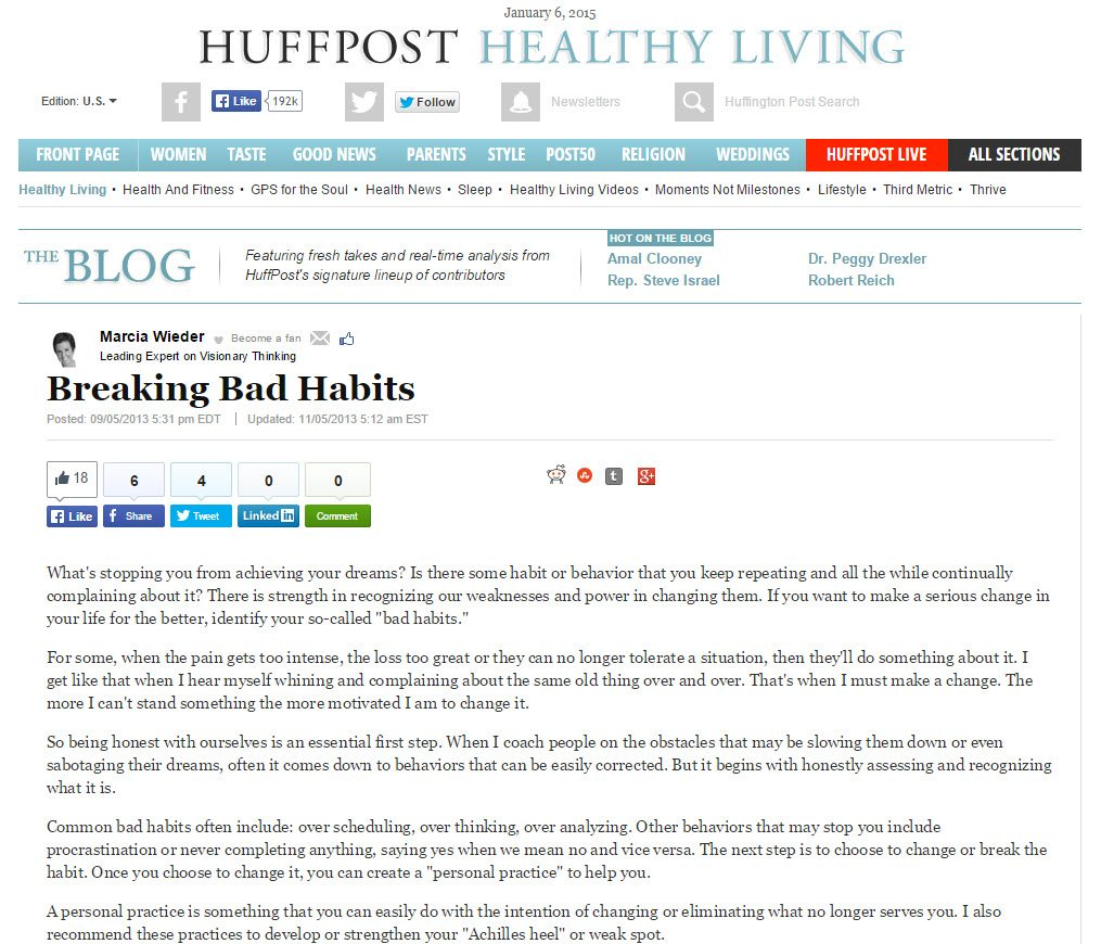 Breaking Bad Habits - Huffington Post Healthy Living